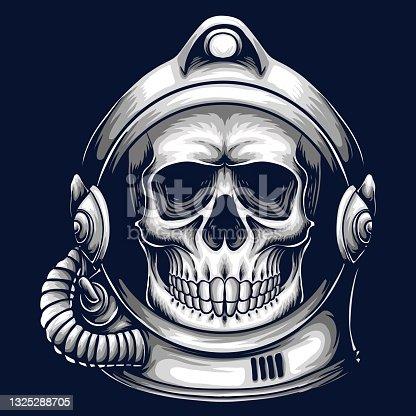 Skull helmet astronaut vector illustration