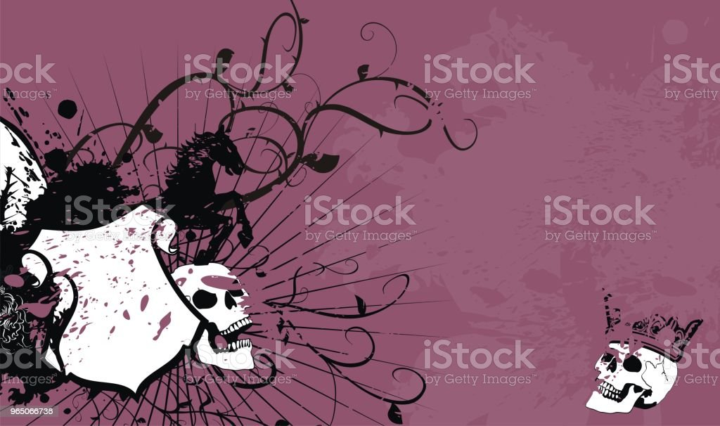 skull heraldic coat of arms shield tattoo background royalty-free skull heraldic coat of arms shield tattoo background stock illustration - download image now