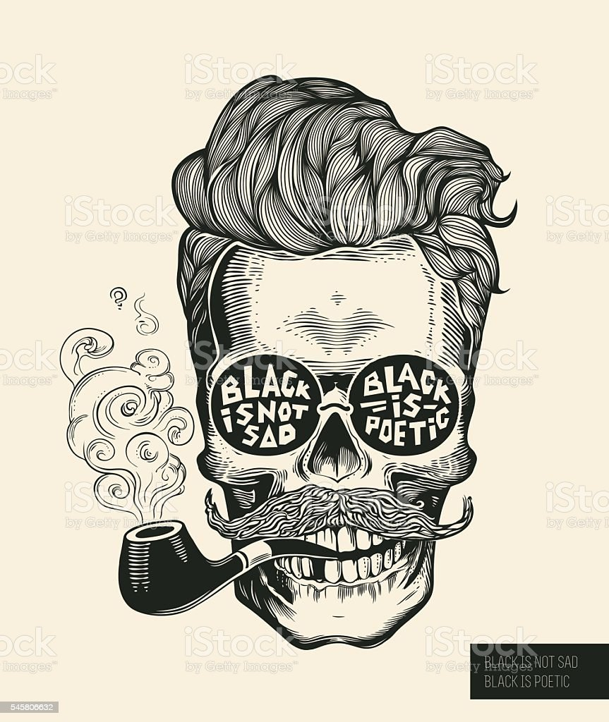 Skull. Hipster  silhouette with mustache, beard, tobacco pipes and glasses – Vektorgrafik