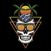 Skull Holiday beach sunset retro vector illustration for your company or brand