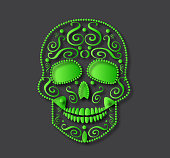 Skull icon background abstract green