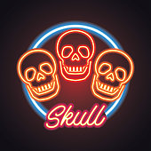 skull icon with neon sign effect. vector illustration