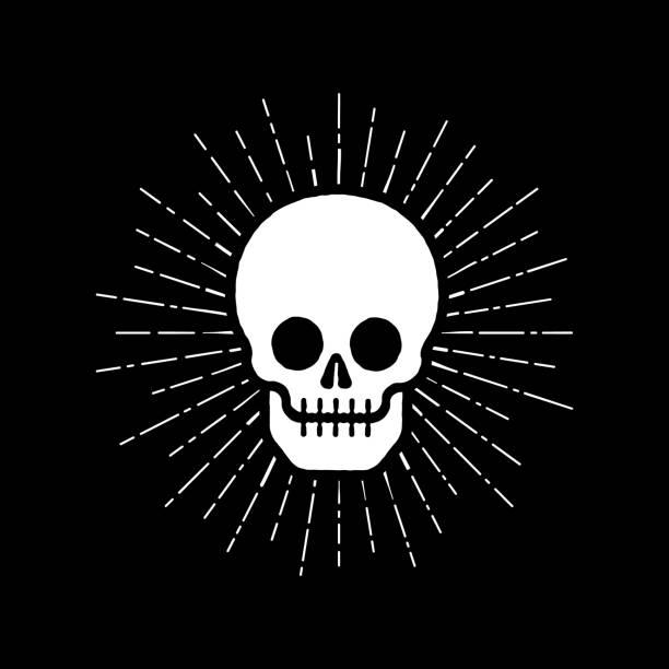 Bекторная иллюстрация Skull icon with sunburst