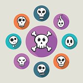 Skull icons on colorful icons - vector illustration