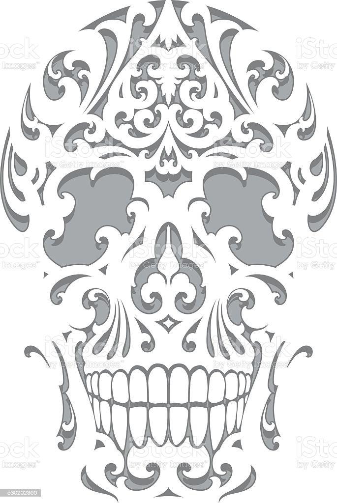 Skull illustration in art nouveau style vector art illustration