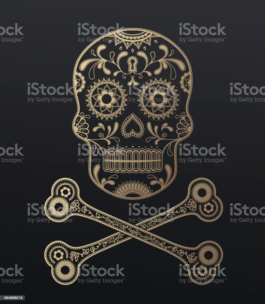 Skull illustration with traditional ornaments. vector art illustration