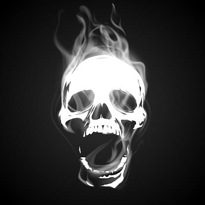 Skull illustration with white smoke effect