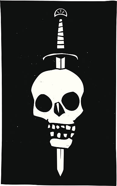 Skull Impaled on a Sword Dark Woodcut style image of a human skull impaled on a sword on a black background. genocide stock illustrations
