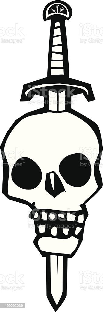 Skull Impaled on a Sword vector art illustration