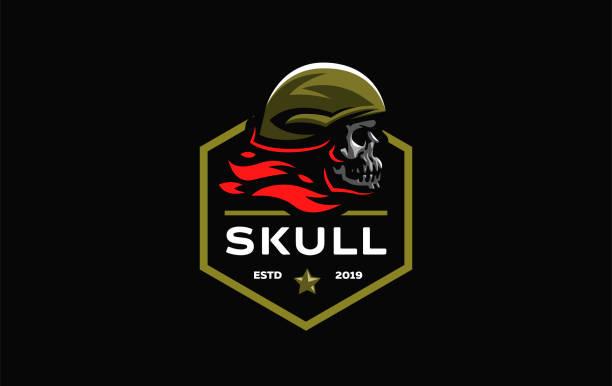 Skull in a helmet Human skull in a military or motorcycle helmet. Vector illustration. nautical tattoos stock illustrations