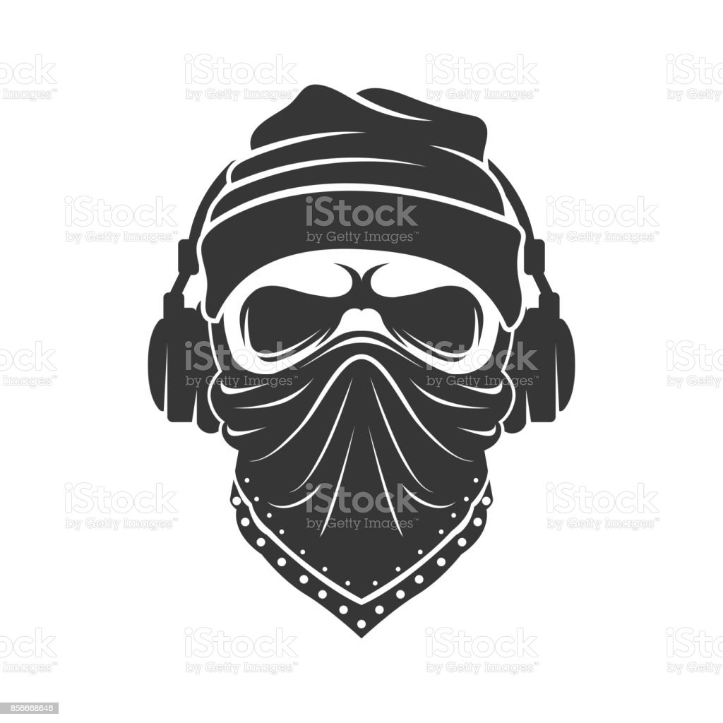 Skull in a knitted cap with headphones and in a bandana. DJ bandit vector art illustration
