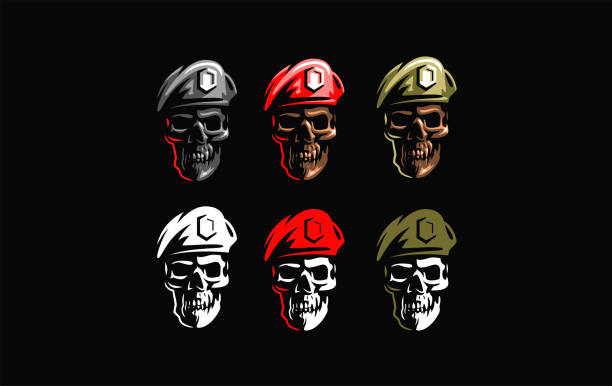 Skull in a military beret Human skull in a military beret with a cockade. Vector illustration. nautical tattoos stock illustrations