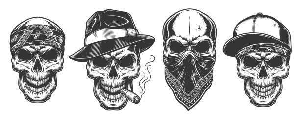 skull in bandana on face - gangster stock illustrations, clip art, cartoons, & icons
