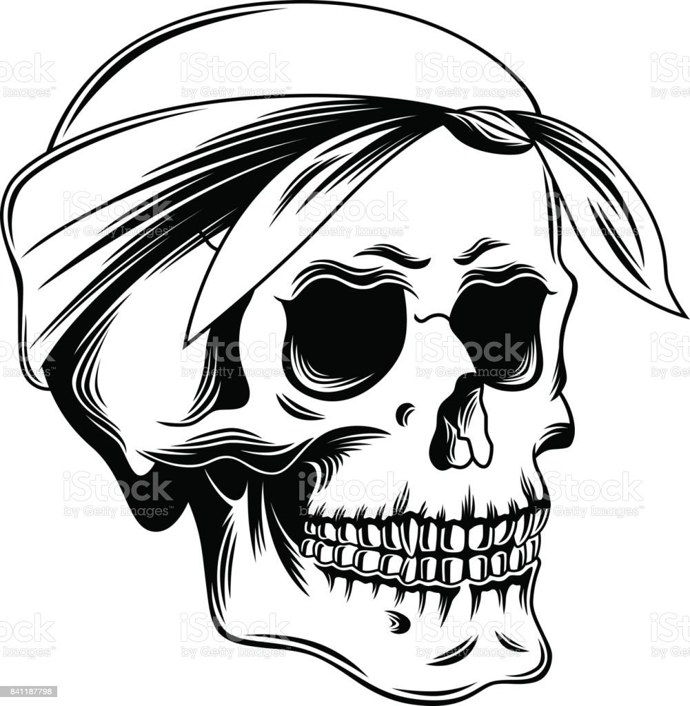 It's just a picture of Bright Skull With Bandana Drawing