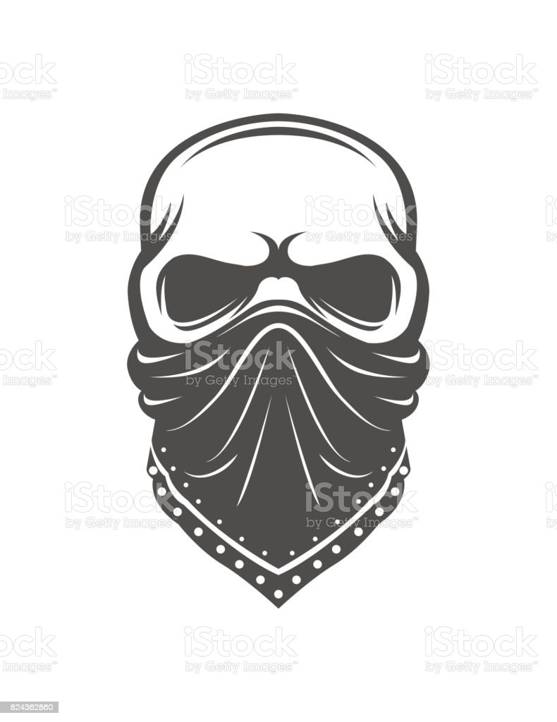 Skull in bandanna. Gangster vector art illustration