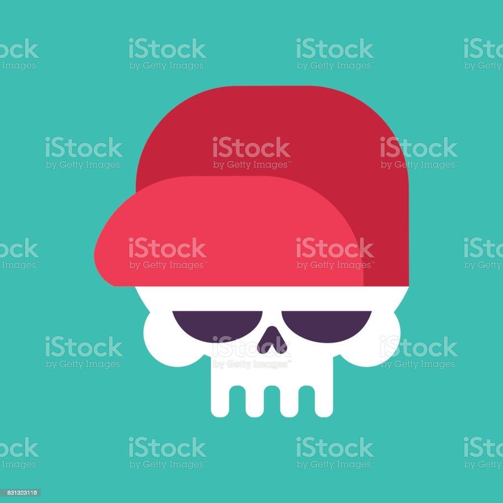 Skull In Baseball Cap Isolated Head Of Skeleton In Hat Stock Vector