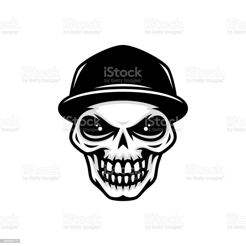 Skull In Baseball Cap Stock Vector Art More Images Of Anatomy
