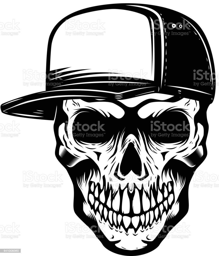 Ilustración de Cráneo En Béisbol Sombrero Aislado En Fondo Blanco ...