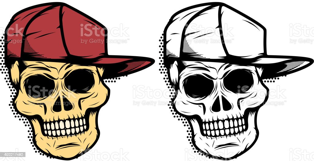 Skull In Baseball Hat With Halftone Effect Design Element Stock