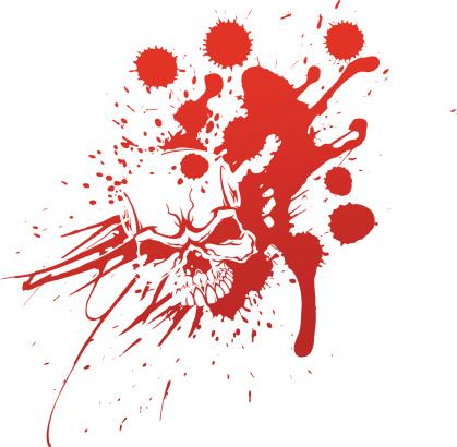 Skull in blood