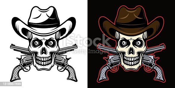 Skull in cowboy hat and crossed pistols vector illustration in two styles black on white and colorful on dark background