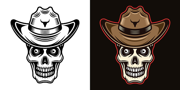 Skull in cowboy hat vector illustration in two styles black on white and colorful on dark background