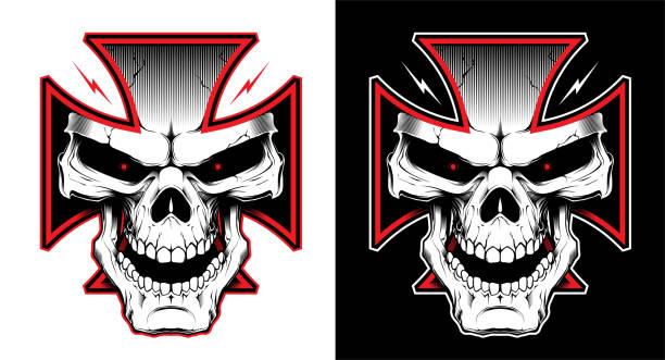 Skull in cross Vector illustration with Maltese cross with a skull. Biker symbol. Motorcycle club T shirt graphics concept. skulls tattoos stock illustrations