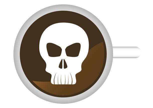 bildbanksillustrationer, clip art samt tecknat material och ikoner med skalle i kopp - coffe with death