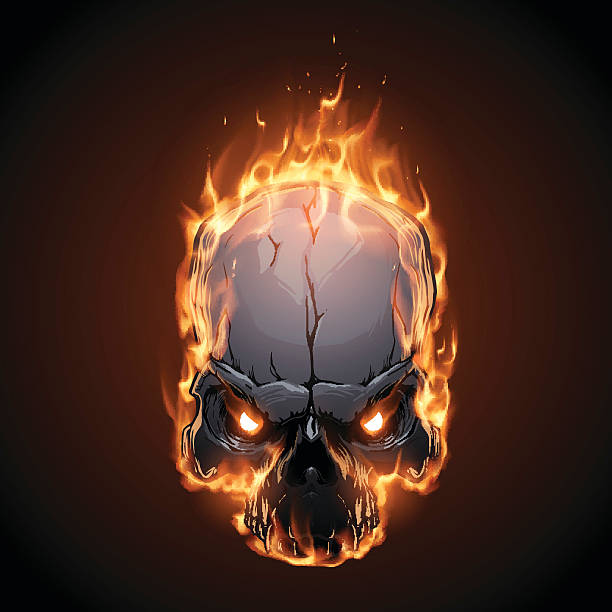 stockillustraties, clipart, cartoons en iconen met skull in fire - vervuiling