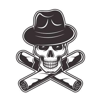 Skull in gangster hat and two crossed cigars vector illustration in monochrome style isolated on white background