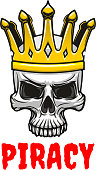 Skull in golden king crown cartoon symbol
