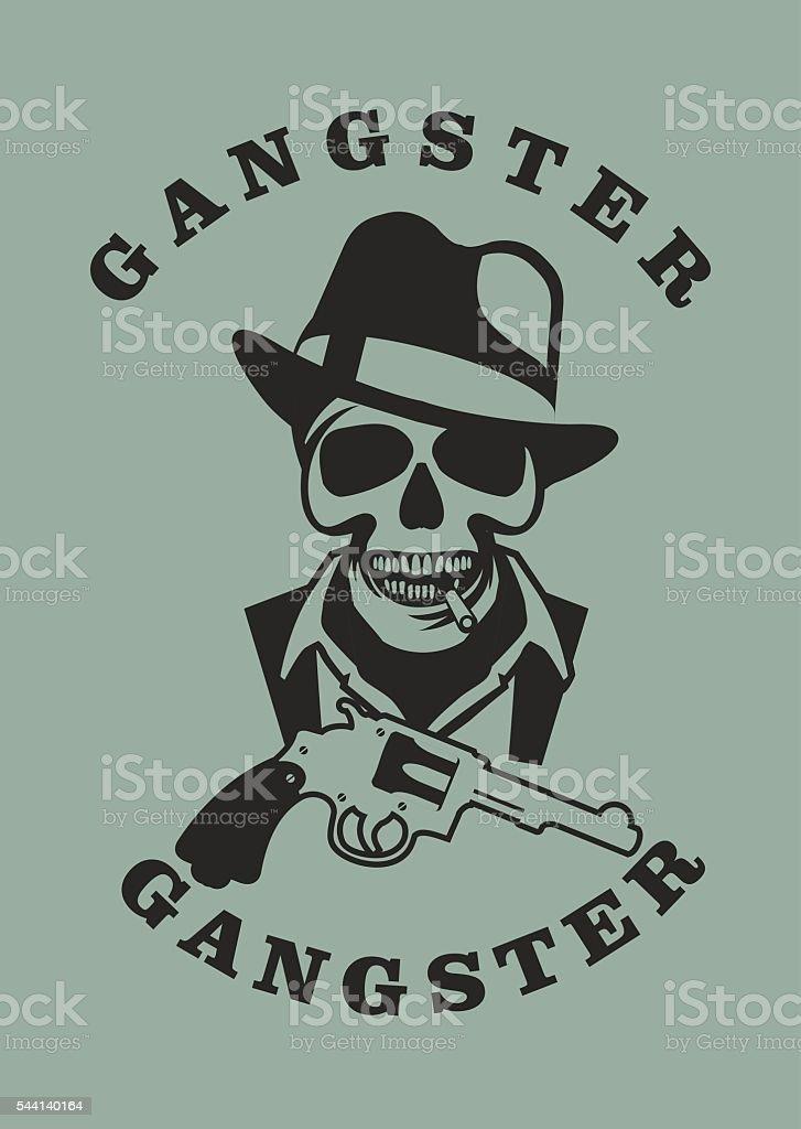 Ilustración de Cráneo En Sombrero Gánster y más banco de imágenes de ...