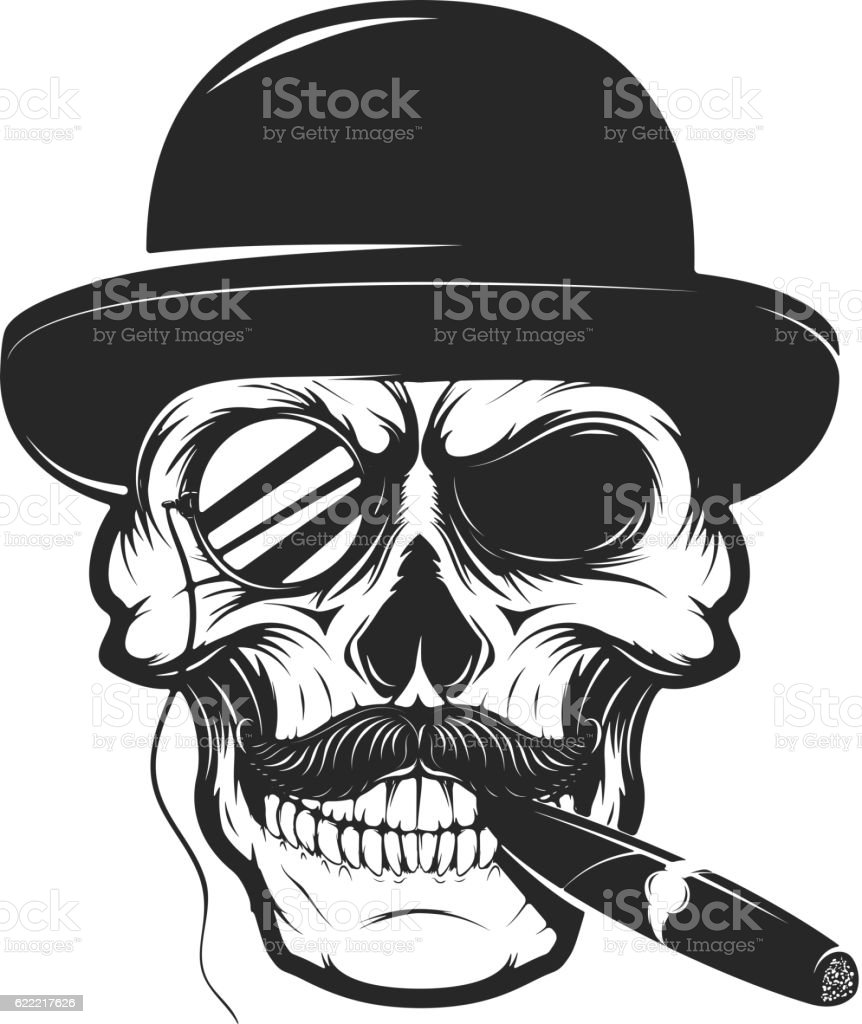 Skull in hat with cigar and monocle. Design element vector art illustration