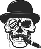 Skull in hat with cigar and monocle. Design element