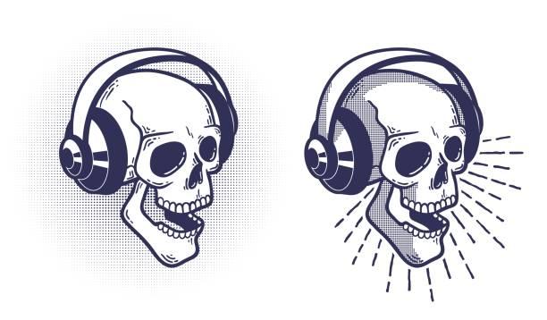 Bекторная иллюстрация Skull in headphones. Retro stamp style.