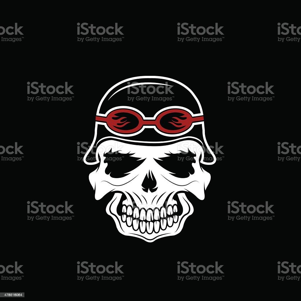 Ilustración de Cráneo En Casco Ciclismo Plantilla De Diseño De ...