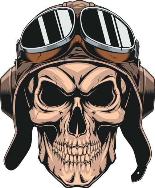 skull in helmet pilot Vector illustration of a wicked skull in the pilot's helmet, on a white background flight suit stock illustrations