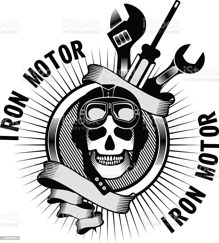 Skull in helmet vector art illustration