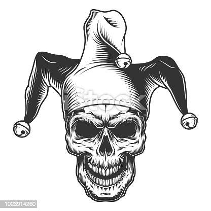 Skull in jester hat. monochrome vector illustration