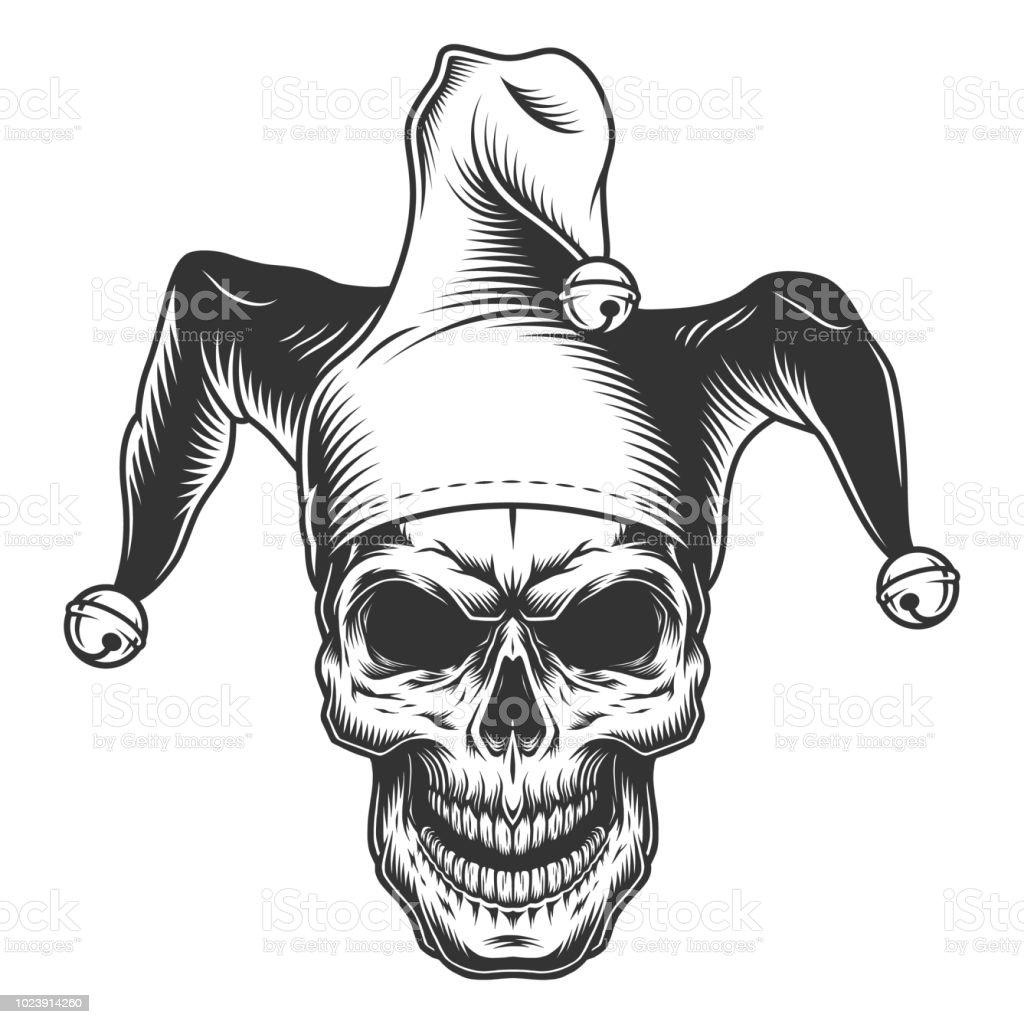 Crâne en chapeau de bouffon - Illustration vectorielle