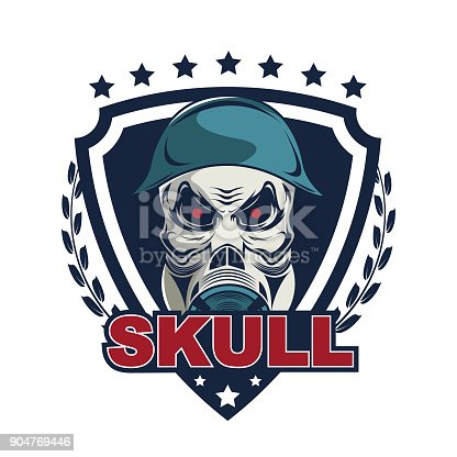 Skull In Military Helmet And Gas Mask Design Template Stock Vector ...