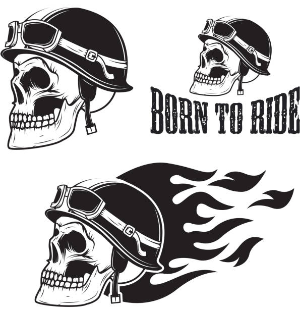 skull in motorcycle helmet with fire. born to ride. - fire tattoos stock illustrations, clip art, cartoons, & icons