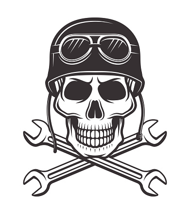 Skull in motorcycle helmet with goggles and two crossed wrenches vector monochrome illustration isolated on white background