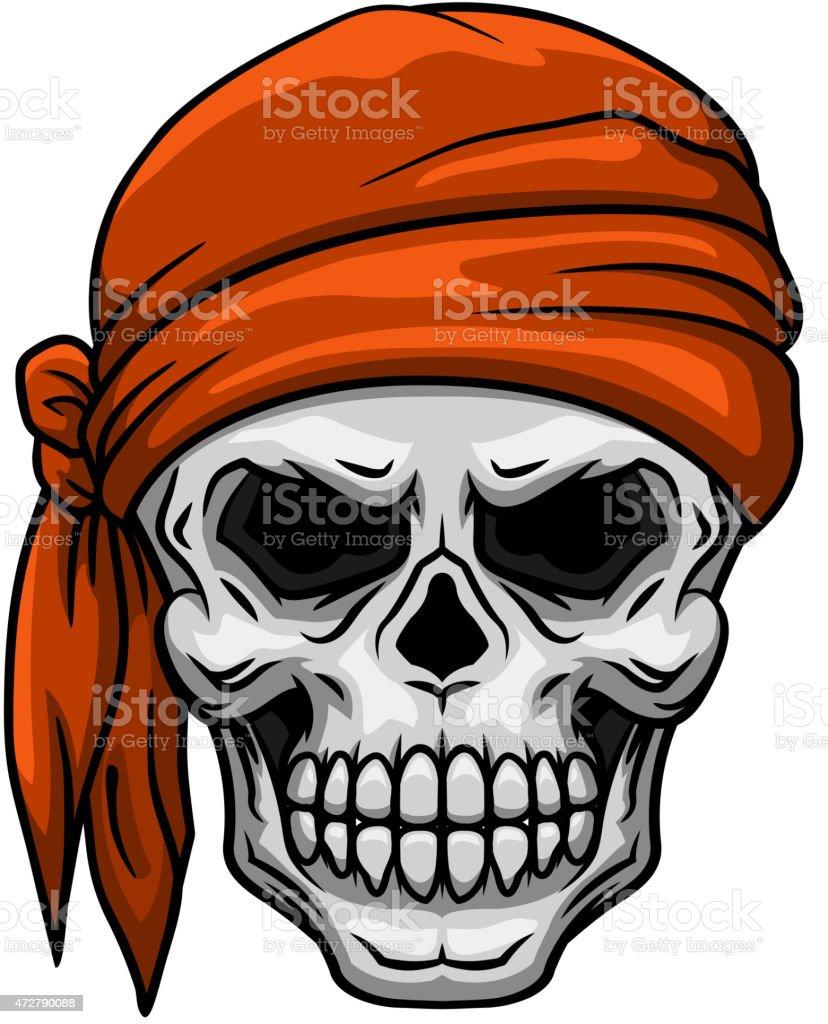 Skull in orange bandana vector art illustration