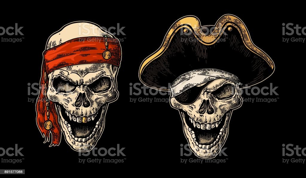 Skull in pirate with clothes eye patch, captain hat, bandana. Vintage engraving vector art illustration
