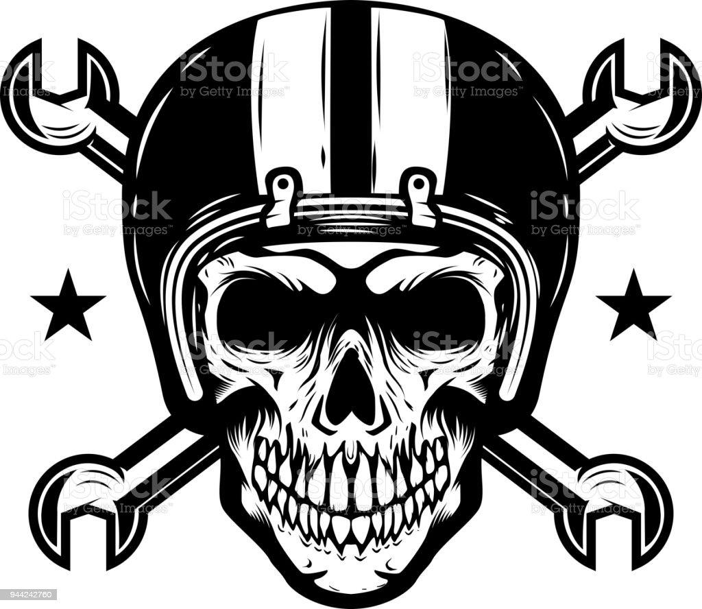Skull in racer helmet with crossed wrenches. Design element for  label, emblem, sign. vector art illustration