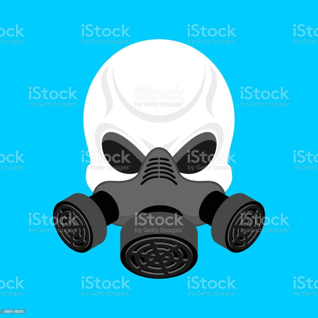 ilustração de crânio no respirador cabeça de esqueleto e máscara de