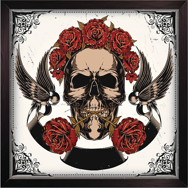 Skull in roses vector art illustration