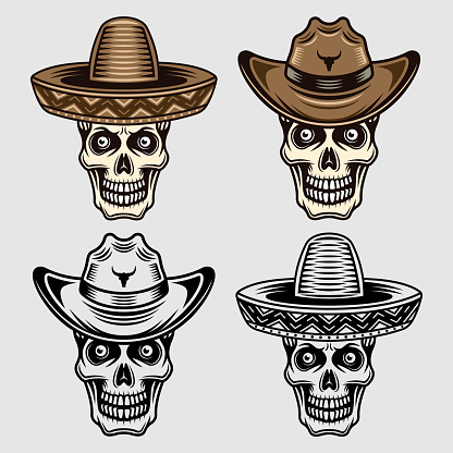 Skull in sombrero and cowboy hat set of vector objects or design elements it two styles black and colorful