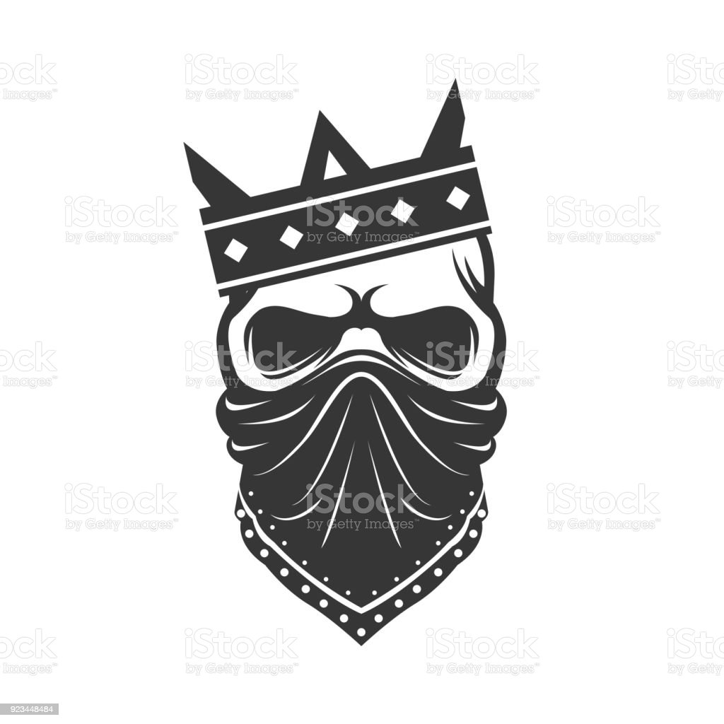 skull in the crown and bandana gangster icon stock vector art more